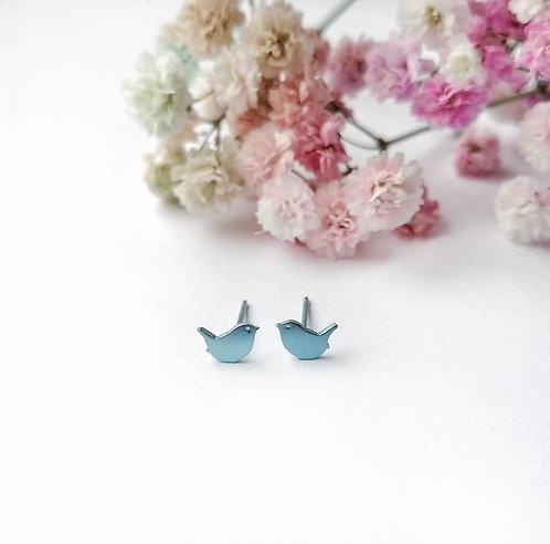 Titanium mini blue bird stud earrings