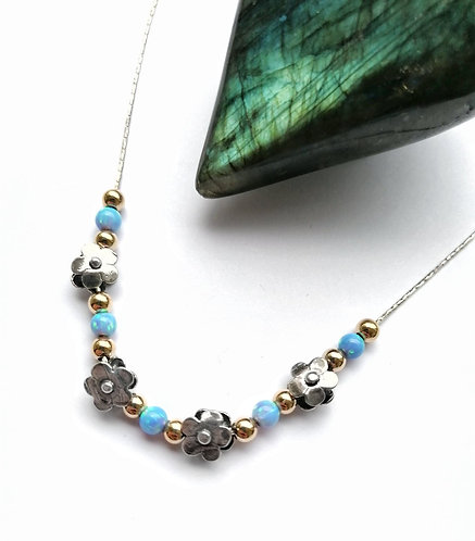 Silver & gold vermeil daisy necklace