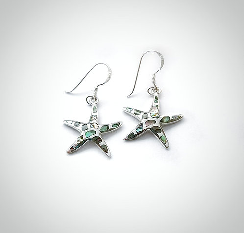 Silver & Abalone shell starfish earrings