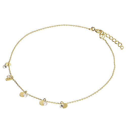 Silver & gold vermeil dainty crystal detail anklet