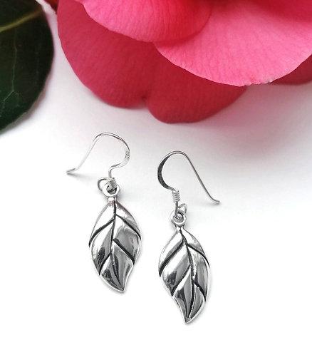 Silver falling leaf earrings