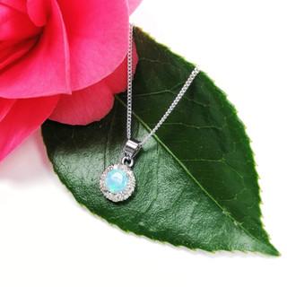 Silver & opalite crystal clustrer necklace
