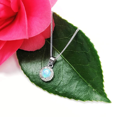 Silver Opalite & Crystal cluster necklace