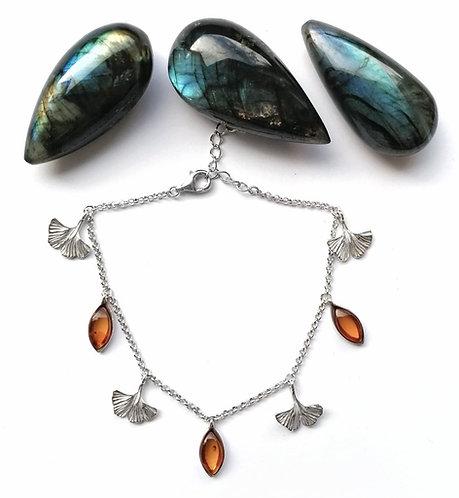Silver & amber ginkgo leaf bracelet
