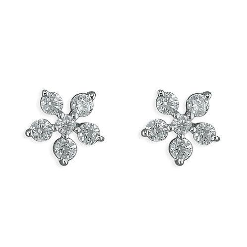 Silver flower crystal studs