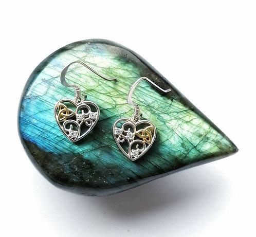 Silver & gold vermeil crystal celtic heart earrings