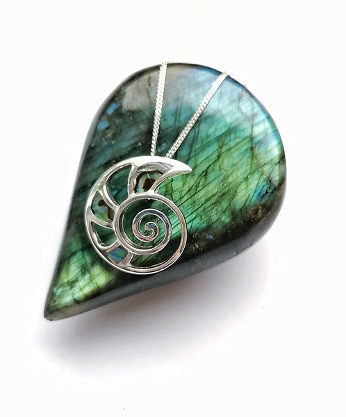 Silver abalone swirl shell necklace