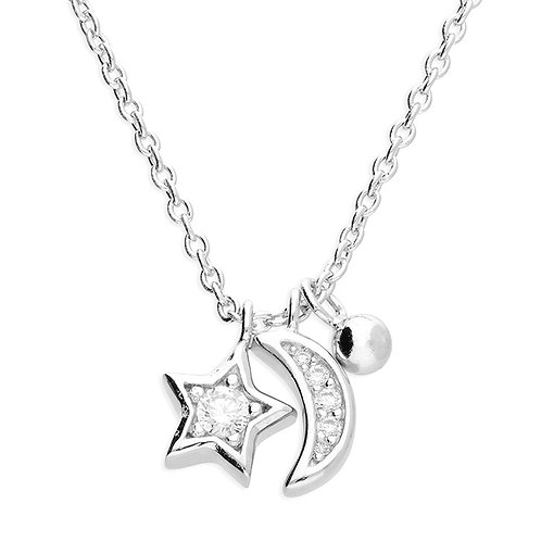 Silver & crystal celestial necklace