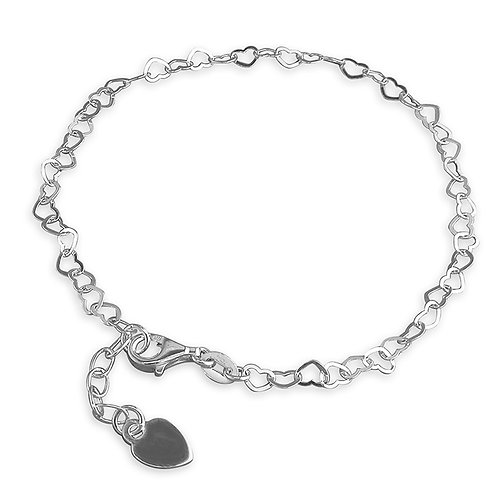 Silver multi heart anklet