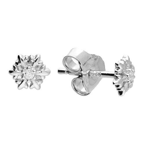 Silver & crystal snowflake studs