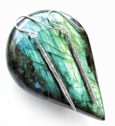 Long silver hammered earrings