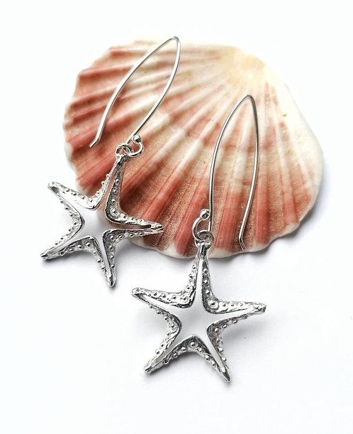 Long silver starfish earrings