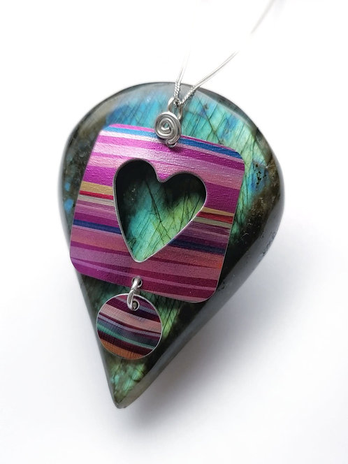 Silver & hand painted aluminium heart necklace