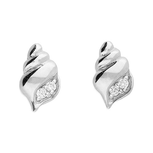 Silver & crystal shell studs