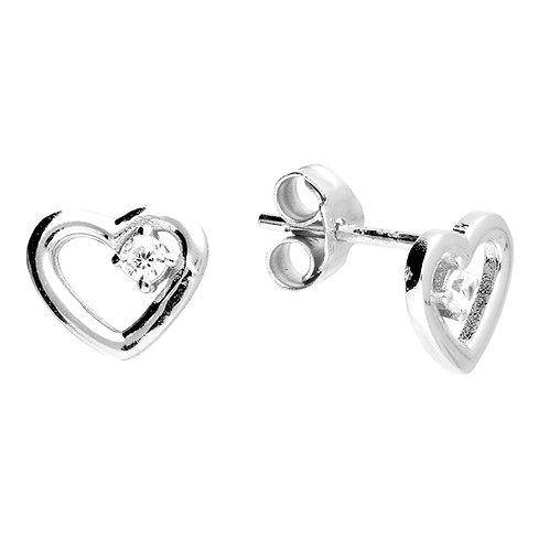 Silver & crystal cute heart stud earrings