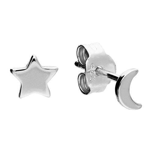 Silver star & moon studs
