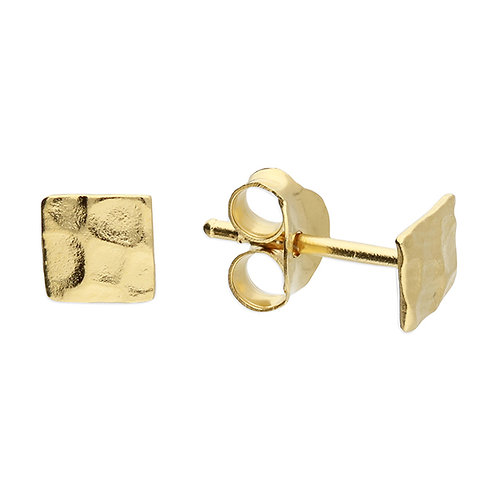 Silver & gold vermeil textured square studs
