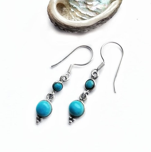 Silver double turquoise droplet earrings