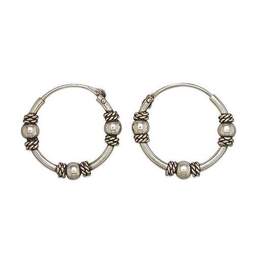 Silver Bali triple ball sleeper hoops