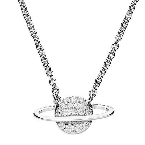 Silver & crystal saturn necklace
