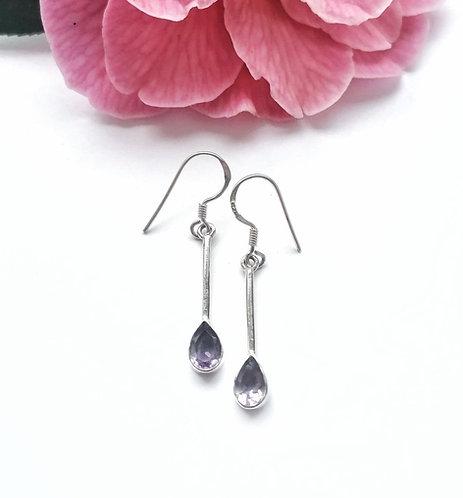Silver & amethyst elegant faceted drop earrings