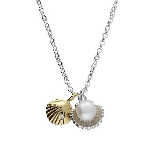 Silver & gold vermeil Pearl shell necklace