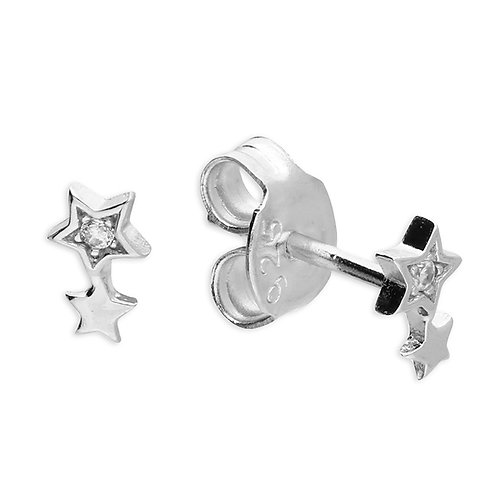 Silver small double crystal star studs