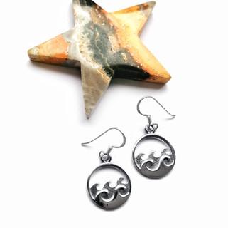 Sterling silver double wave drop earrings. Wave atop waves silver earrings