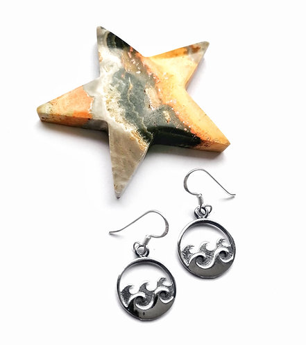 Wave atop waves silver earrings