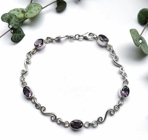 Silver & amethyst swirl bracelet