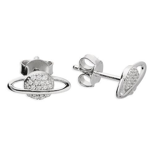 Silver & crystal saturn studs