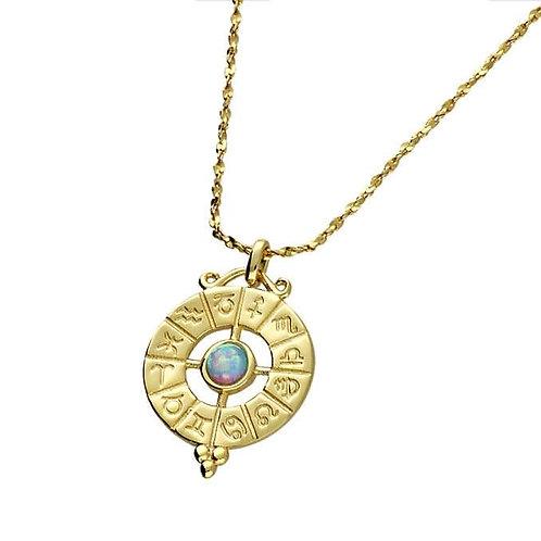 Silver & gold vermeil zodiac necklace with pretty opalite gemstone