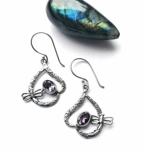 Silver & Amethyst dragonfly earrings