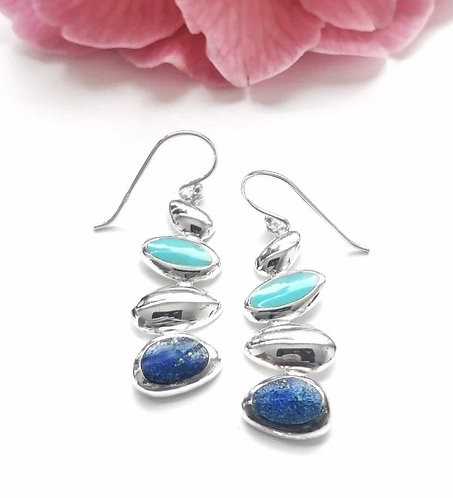 Silver pebble earrings with turquoise & lapis lazuli