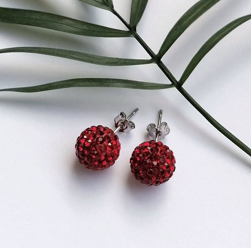 Silver sparkling red crystal ball stud earrings