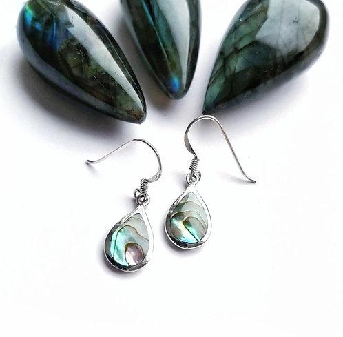 Silver & abalone shell teardrop earrings