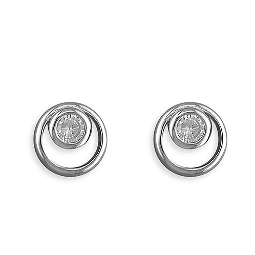 Silver & crystal round studs