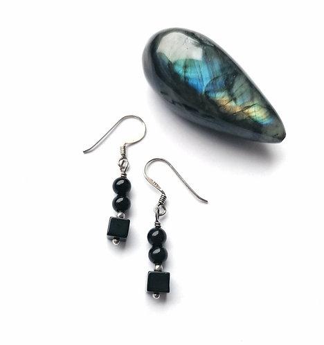 Silver & black onyx beaded earrings