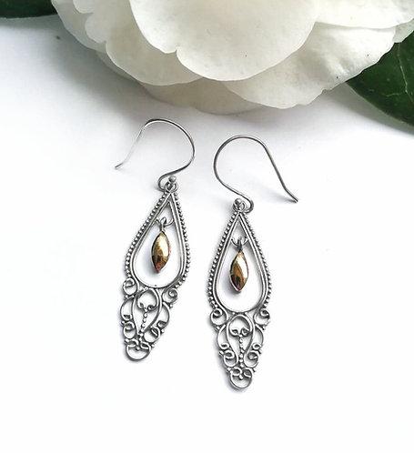 Silver & gold ornate earrings