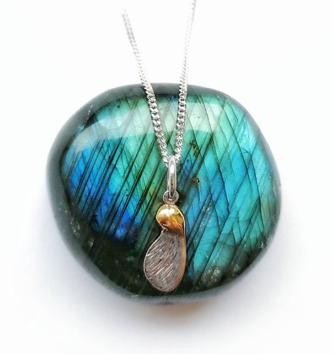 Silver & gold vermeil sycamore seed necklace