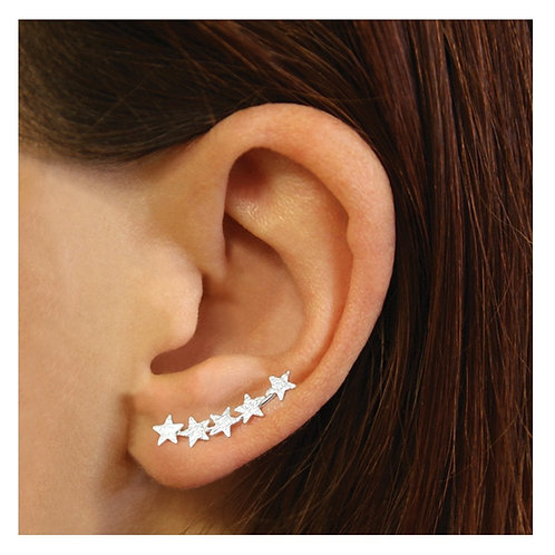 Silver textured star ear climbers