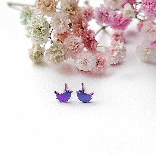 Titanium mini purple bird stud earrings