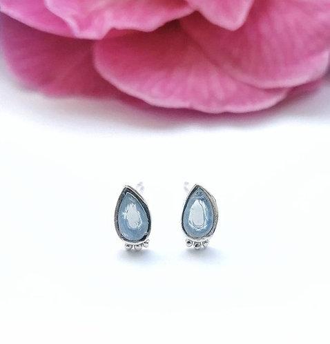 Silver & milky blue crystal teardrop stud earrings