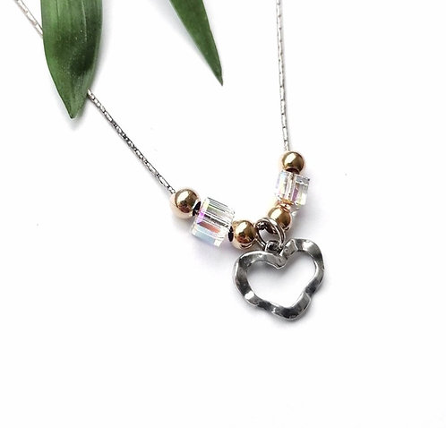 Silver & gold crystal heart necklace