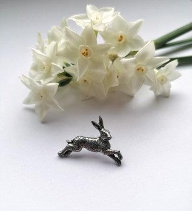 Hare lapel pin