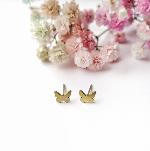Titanium mini mustard butterfly stud earrings