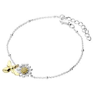 Silver daisy & bee bracelet