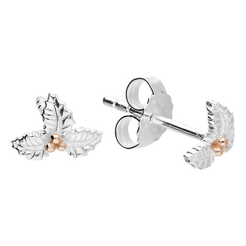 Silver & gold vermeil holly studs