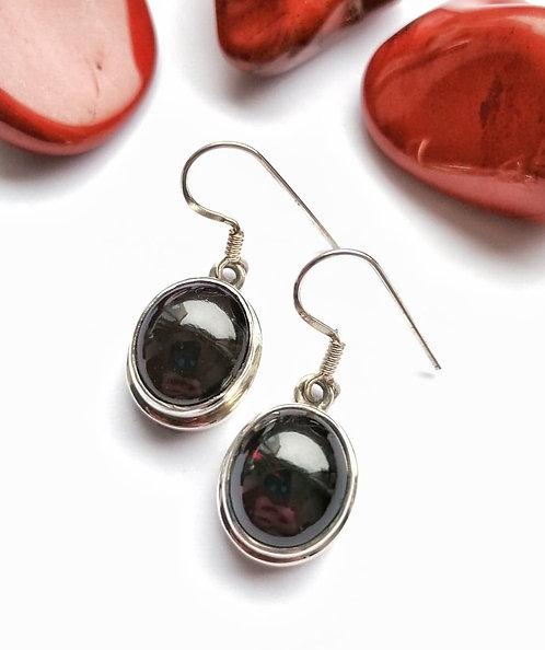 Silver garnet cabochon earrings