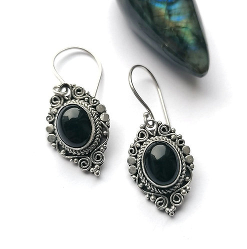 Silver & black onyx ornate earrings